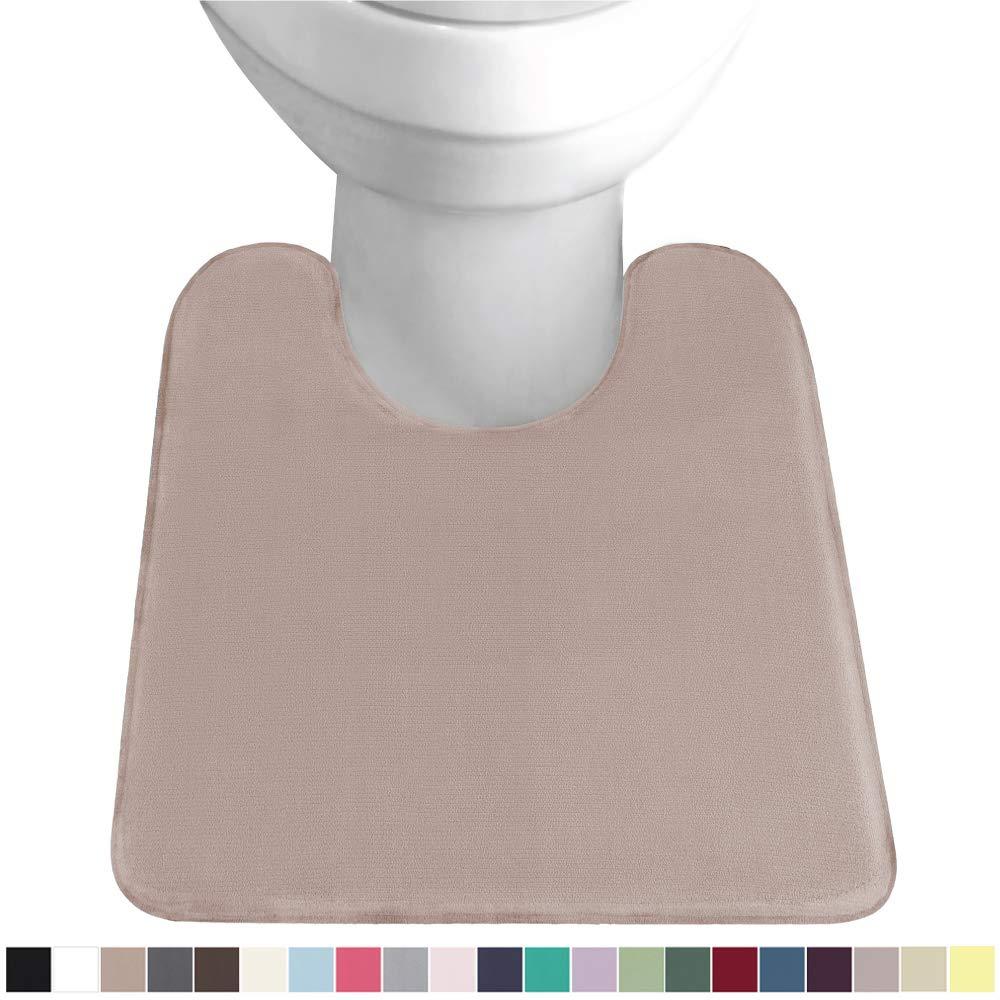 GORILLA GRIP Original Thick Memory Foam Contour Toilet Bath Rug 22.5x19.5, U Shape, Cushioned, Soft Floor Mats, Absorbent Premium Bathroom Mat Rugs, Machine Wash and Dry, Plush Bath Room Carpet, Beige