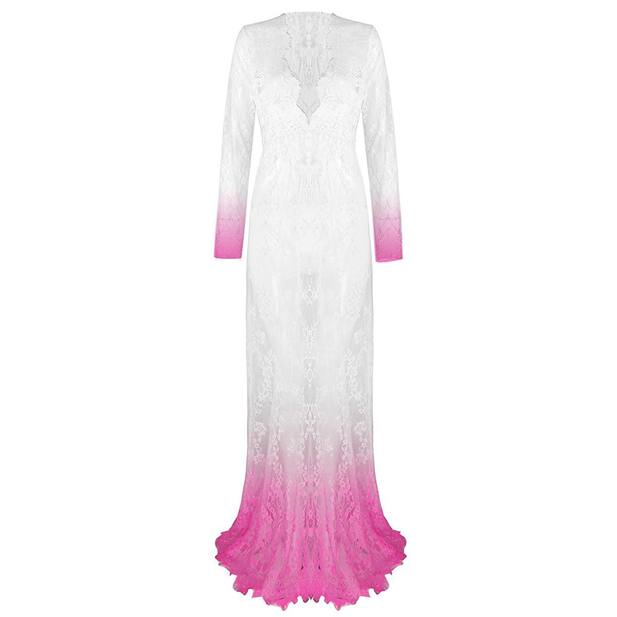 Maternity Sexy Deep V-Neck Long Sleeve Lace See-Through Maxi Dress for Beach Photo Shoot Party Baby Shower Photography Gown Dip Dyeing White+Rose 3XL