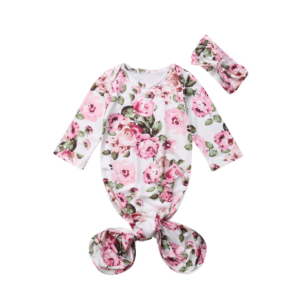 Mubineo Infant Newborn Baby Floral Sleeping Bag Swaddle Blanket with Headband Outfits (White, 0-6 Months)