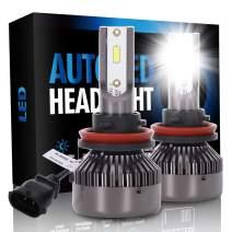ECCPP H11/H8/H9 LED Headlight Bulb Fog White Headlamp Conversion Kit - 80W 6000K 9600Lm 12xCSP Chips - 1 Year Warranty(Pack of 2)