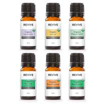 REVIVE Essential Oils USDA CERTIFIED ORGANIC KIT - 100% Pure Therapeutic Grade, For Diffuser, Humidifier, Massage, Aromatherapy, Skin & Hair Care - Cruelty Free - Unrefined Oils With No Fillers.