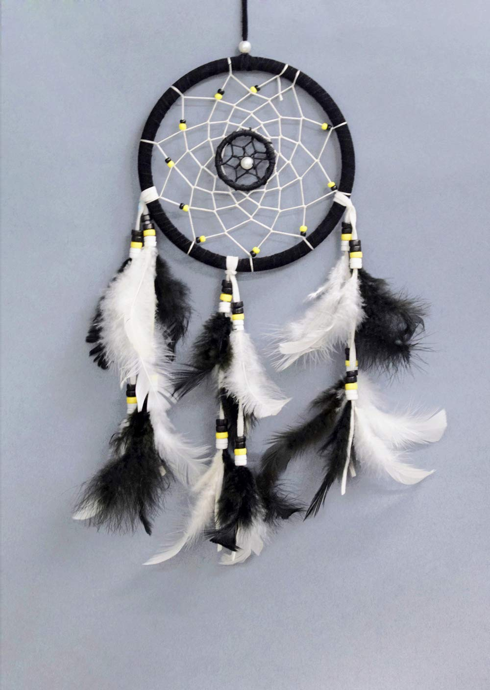 Asian Hobby Crafts Traditional Handcrafted Dream Catcher Wall Hanging with Natural Feathers – Black & White Native Boho Style for Room Decor, Baby Shower, Gifting, Size – 12 x 5.5 inches (L x Dia)
