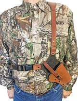 WESTERN IMAGES LEATHERWORKS, INC. Sportsman's Chest Rig Holster for Glocks Brown Leather. Made in The USA.