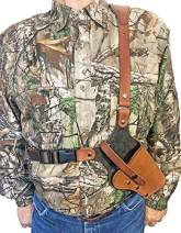 WESTERN IMAGES LEATHERWORKS, INC. Sportsman's Chest Rig Holster for Sig Sauer Brown Leather. Made in The USA.