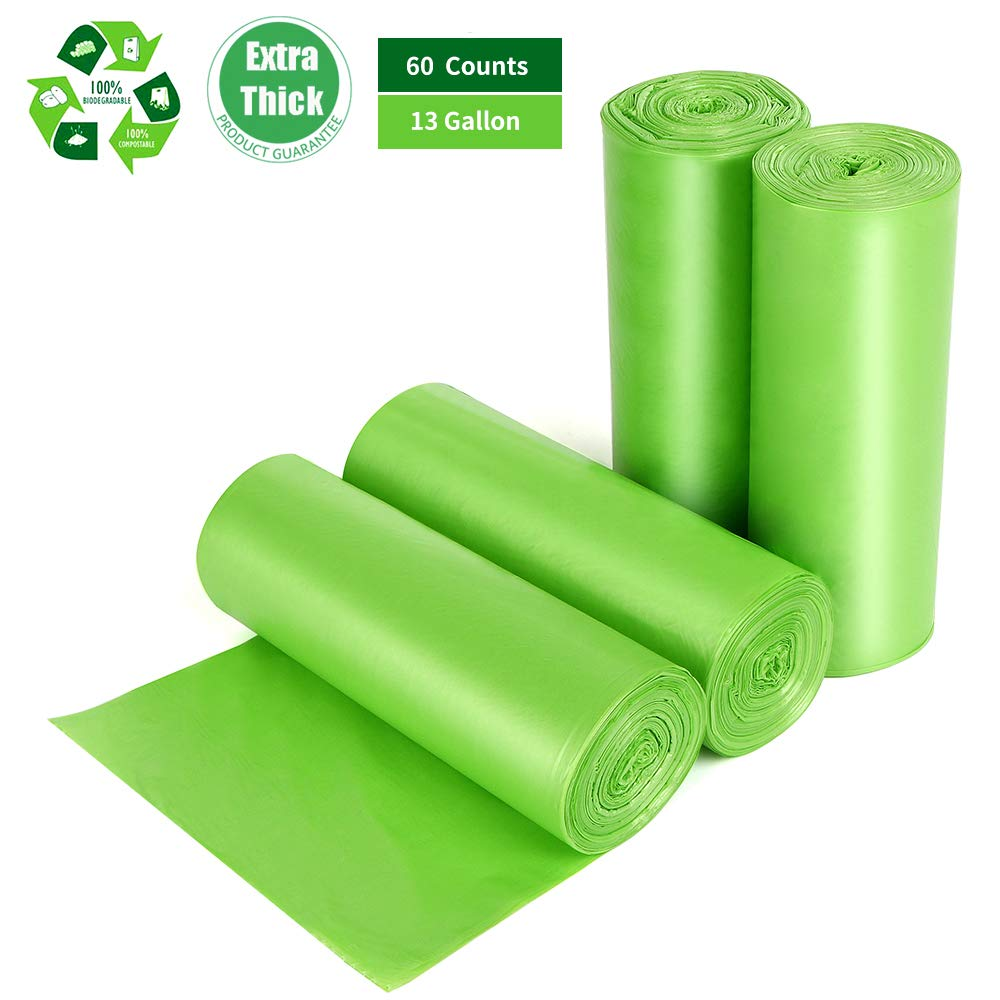 Biodegradable Trash Bags 13 Gallon, 60 Counts, Extra Thick 1.18 Mils Recycling Garbage Bags For Kitchen Yard Home Office