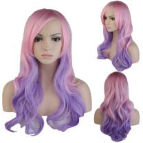 Synthetic Ombre Long Wavy Full Wig with Oblique Bangs for Women Cosplay Party Fashion Costume 24'' / 60cm Heat Resistant Japanese Kanekalon Fiber(Mix Pink Purple)