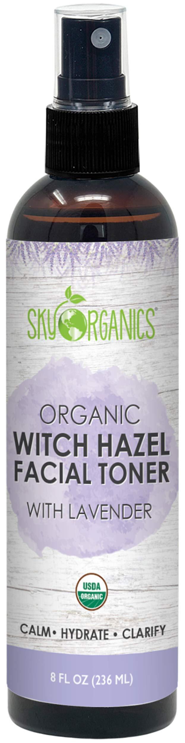 Organic Lavender Witch Hazel Toner I 8 oz I Soothing Lavender Toner, Witch Hazel Face Mist with Lavender, For Sensitive and Combination Skin, Cruelty-Free and Vegan Facial Toner (Lavender)