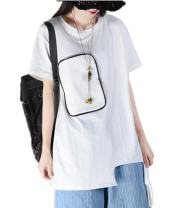 YESNO Y15 Women Casual Loose Tee T-Shirt Long Sleeve Stitched