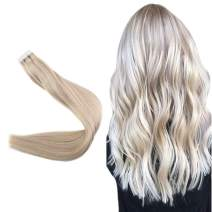"""Easyouth 22"""" Seamless PU Tape On Extensions 100% Human Hair Color #18 Ash Blonde Highlights With #24 Blonde 50 Gram 20 Pieces Per Pack Skin Weft Straight Hair Tape In Extensions"""