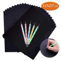 100 Sheets Carbon Transfer Paper,Black Carbon Copy Paper Tracing Paper with 5pcs Double-end Embossing Stylus for Wood,Paper,Canvas and Other Art Surfaces (8.3 x 11.7 inch)
