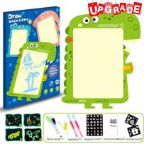 Farielyn-X Draw with Light-Fun Drawing Board Pad Tablet for Kids- Painting Board Educational Toy - Doodstage Light Drawing Fun and Developing Toy Luminous Drawing 2 in 1 Board Set (Dinosaur A3 Size)