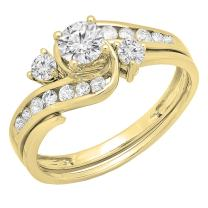 Dazzlingrock Collection 0.90 Carat (ctw) 14K Gold Round Diamond Swirl Bridal Engagement Ring With Matching Band Set 1 CT