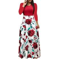 BODOAO Womens Floral Printed Maxi Dress Casual Short Sleeve/Long Sleeve Party Long Swing Dress