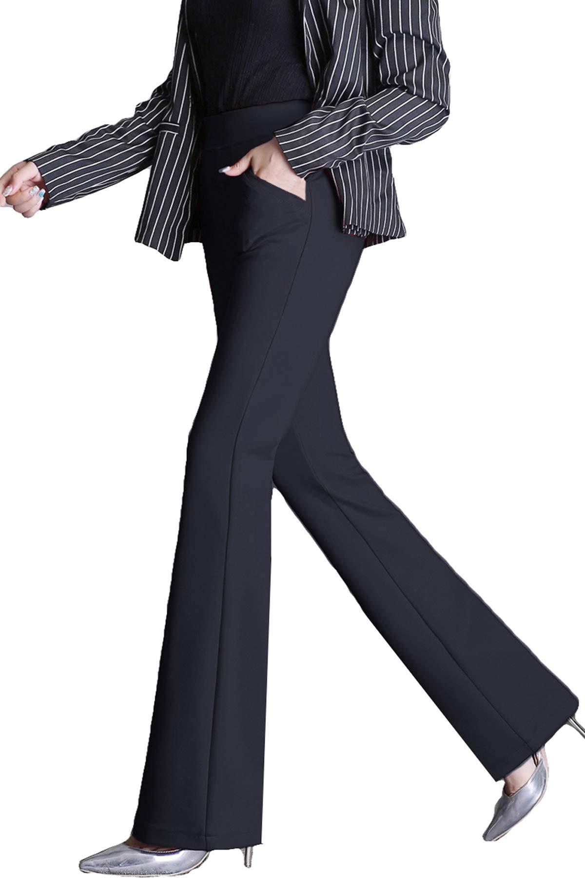MYIFU Womens Yoga Dress Pants Bootcut with Pockets High Waist Tummy Contorl Slim Stretch Bootleg Work Slacks…