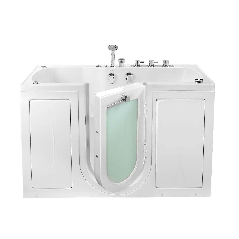 "Ella's Bubbles O2SA3260H-R Ella Tub4Two 32""x 60"" Hydro Massage Acrylic Walk-in Tub with Right Outward Swing Door, Thermostatic Faucet, 2"" Dual Drain 32"" x 60"" x 42"" White"