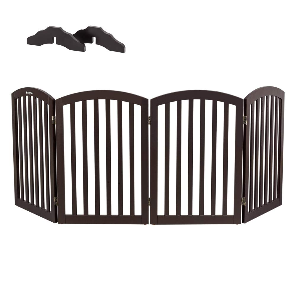 """Bonnlo Wooden Folding Pet Gate Freestanding Barrier for Dogs Cats 4 Panels Doggy Kitty Safety Fence   Fully Assembled   Expands Up to 82"""" Wide, 30"""" High   Dark Brown   Foot Supporters Included"""