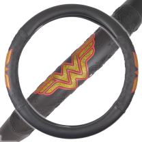 BDK DC Comics Wonder Woman Steering Wheel Cover - W Symbol on Synthetic Leather