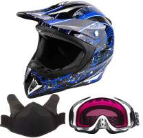 Adult Snocross Snowmobile Helmet & Goggle Combo - Blue, White (XXL)