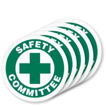 """SmartSign""""Safety Committee"""" Pack of 5 Hard Hat Labels 