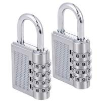 ZHEGE Combination Lock 2 Pack, 4 Digit Combination Padlock for Gym, Sports, School & Employee Locker, Outdoor, Fence, Hasp and Storage