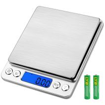 Digital Kitchen Scale, maxin Multifunctional Cooking Food Scale with Back-Lit LCD Display, 3000g/ 0.01g Mini Pocket Jewelry Scale with Tare, PCS Functions. (Sliver)