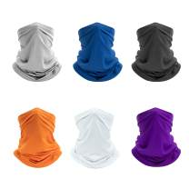 victagen 6 Pack UV Resistance Face Mask Bandana, Breathable Lightweight Balaclava, Cooling Reusable wash Neck Gaiter, Headwear Scarf for Men Women -Fishing, Cycling, Hiking, Camping