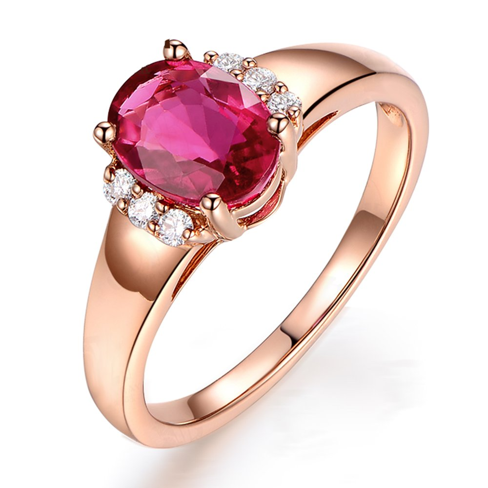 Kardy Fashion 14k Rose Gold Gemstone Pink Tourmaline Real Diamond Wedding Engagement Finger Band Rings For Womens
