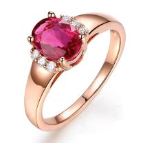 Kardy Fashion 14k Rose Gold Gemstone Pink Tourmaline Real Diamond Wedding Engagement Finger Band Rings For Womens