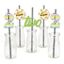 Big Dot of Happiness Taco Twosday - Paper Straw Decor - Mexican Fiesta Second Birthday Party Striped Decorative Straws - Set of 24