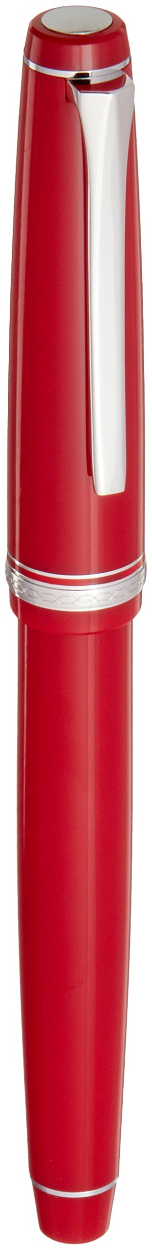 PILOT Falcon Collection Fountain Pen, Red Barrel with Rhodium Accents, Soft Broad Nib, Blue Ink (71623)