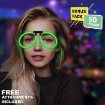 Lumistick Aviator Glow Eyeglasses | Light Up Neon Glow Eyewear | Illuminating Eye-catching Party Wear | Non-Toxic & Kids Safe Light Up Fluorescent Specs with Connectors (Green, 50 Eyeglasses)