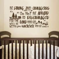 """BATTOO Be Brave Strong and Courageous- Joshua 1:9 Bible Scripture Wall Decal Quotes for Boys Room Boys Nursery Baby Room Vinyl Letters Inspirational Wall Decor(Dark Brown, 34"""" WX18 H)"""