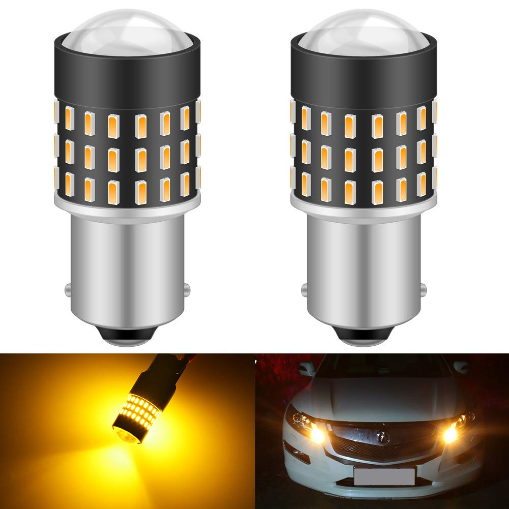 KATUR 1156 BA15S 7506 1073 1095 1141 Led Light Bulb High Power 3014 54 Chipsets Super Bright 650 Lumens Replace for Turn Signal Back Up Reverse Brake Tail Stop Parking RV Lights,Amber(Pack of 2)