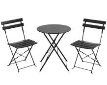 Outdoor Furniture Patio Set Bistro Table Set 3 Piece Patio Set Steel Patio Bistro Set Small Patio Table and Chairs Folding Bistro Set for Lawn Balcony Backyard Yard Bistro Apartment Black