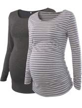 Love2Mi Women's Maternity Tunic Tops Flattering Side Ruching Long Sleeve Scoop Neck Pregnancy T-Shirt