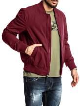 Mens Bomber Jacket Varsity Flight Ligthweight Full Zip Fall Softshell Baseball Coat Ribbed Winter Plain Outerwear