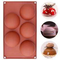 MOTZU 5 Holes Silicone Baking Mold for Mousse Cake, 3D Semicircle Baking Non-Stick Mould, Semi Sphere Dessert Moulds for DIY Chocolate Pastry Truffle Pudding Jelly Cheesecake