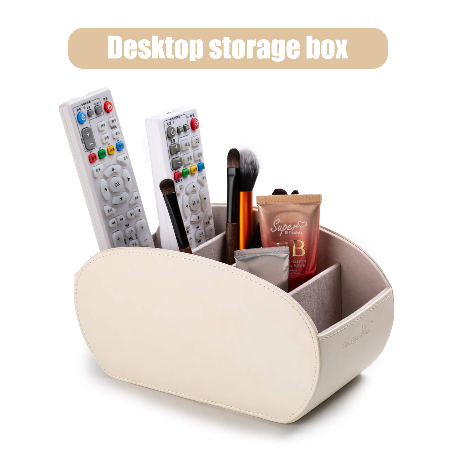 Tv Remote Control Holders Organizer Box with 5 Compartment PU Leather Multi-Functional Office Organization and Storage Caddy Store Tv Remote Holders,Brush,Pencil,Glasses and Media Player (Beige1)
