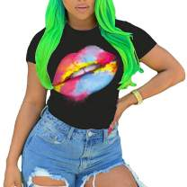 PESION Womens 80s Shirt Short Sleeve Funny Lip Print T-Shirt Graphic Tees Tops