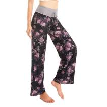 HIGHDAYS Soft Pajama Lounge Pants for Women & Men - Print Palazzo Drawstring Elastic Pj Bottoms Pants Wide Leg