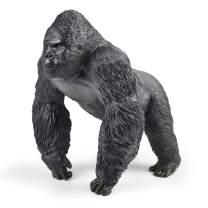 RECUR Toys Large Mountain Gorilla King Kong Toys - Realistic Hand Painted Walking Gorilla Ape Wild Animal Figurine Model – Replica Orangutan Monkey Figure Gift for Collectors & Boys Kids (Black)