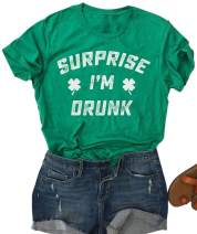 St Patrick's Day Shirts Women Let's Day Drink Shirt Green Four Leaf Graphic Print Short Sleeve Tee Top