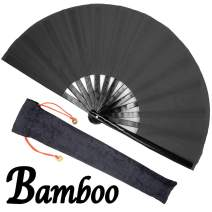 OMyTea Bamboo Large Rave Folding Hand Fan for Men/Women - Chinese Japanese Kung Fu Tai Chi Handheld Fan with Fabric Case - for Performance, Decorations, Dancing, Festival, Gift (Black)