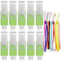 Memory Stick 1GB Thumb Drive 10 Pack USB 2.0 Flash Drives - Portable Swivel 1 GB Pendrive Multipack Jump Drives Gift - Green Data Storage Pen Drive Zip Drive with Lanyards by FEBNISCTE