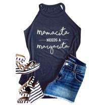 Women Halter Tank Tops Mamacita Needs A Margarita Sleeveless Drinks Vest Tee Shirt