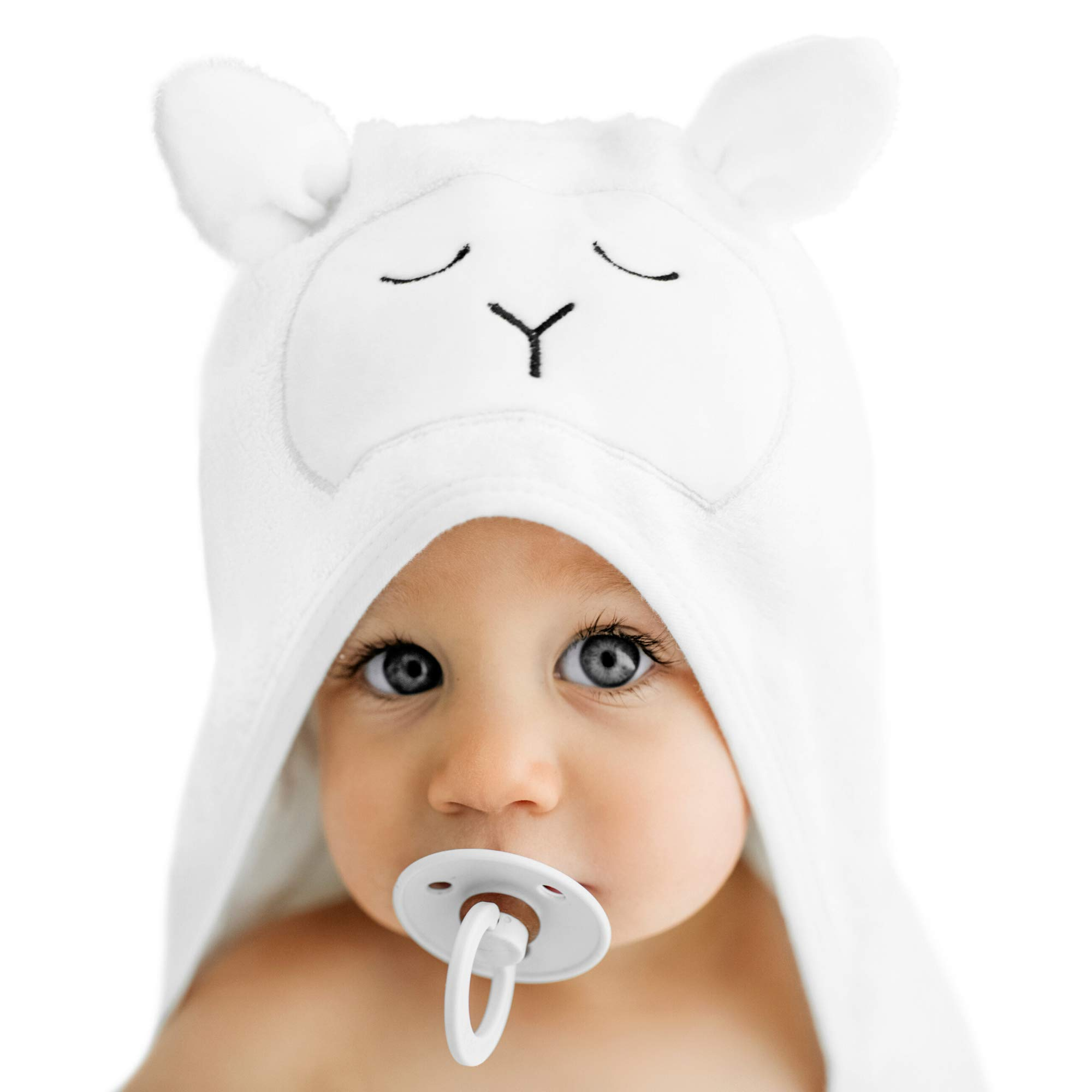 Lilyseed Premium Organic Bamboo Hooded Baby Towel and Washcloth Gift Set | Ultra Soft Baby Towels with Hood for Boys or Girls, Babies and Toddlers- Baby Shower Present- Large Infant Towel White Lamb