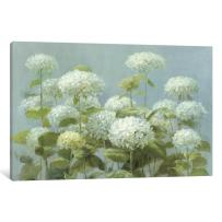 iCanvasART WAC226 White Hydrangea Garden Canvas Print by Danhui NAI, 26 by 18-Inch, 0.75-Inch Deep