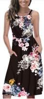 LETSRUNWILD Women's Summer Sleeveless Racerback Loose Swing Dress Floral Print Midi Dresses with Pocket Black-XX-Large