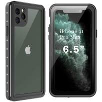 Ezanmull Waterproof Case for iPhone 11 Pro Max, Built-in Screen Protector Full Sealed Snowproof Dustproof Shockproof Heavy Duty Protection Underwater Case for iPhone 11 Pro Max 6.5 Inch(Black/Clear)