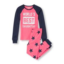 The Children's Place Big Girls' Long Sleeve Graphic Pajama Set